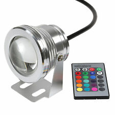 IP68 10W LED RGB Underwater Light Fountain Pond Outdoor Spotlight Lamp Remote