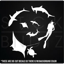 SHARK TANK SCUBA DIVER FISHING BOAT FUNNY CUTE DECAL STICKER MACBOOK CAR WINDOW
