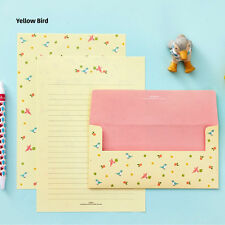 NEW Lovely Birds Letter set - 4sh Yellow Writing Stationery Paper 2sh Envelope