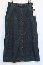 **NEW $115 Ralph Lauren Jean Skirt with Button Front- Long Denim Skirt- Sz 4