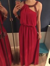 Little Mistress Long Maxi Ball Gown Style Dress Red Dy Pink Beaded Size 8 BNWT