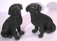 """Black Labrador Resin Bookends Figurines by Melannco 6.5"""" Tall"""