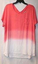 COOL CUTE NEW WOMENS PLUS SIZE 2X CORAL TIE DYE OMBRE CROSS X BACK TEE SHIRT TOP