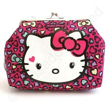 HELLO Kitty Sweet Leopard Kisslock MAKE UP o Lavare Borsa NUOVO 22531