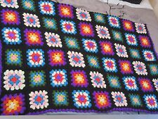 "Vintage Crocheted Multi Colored Granny Squares Afghan Throw Blanket 66"" x 47"""