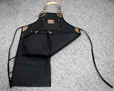 La Rosa Barber Bib Mechanic Apron Black Canvas Split Legs