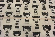 "Japanese Kokeshi Dolls Cotton Flannel Fabric Black & White 2.83 Yd L x 44""W"