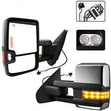 Towing Mirrors For 07-14 Chevy GMC Chrome Side Power Heated Led Signal Pair Set