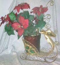 Christmas Rein Deer Gold Metal Sculpted Flower Pot Removable Glitter Poinsettia