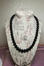 Black onyx ball beads necklace sterling silver toggle closure