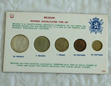 BELGIUM 5 COIN MODERN UNCIRCULATED TYPE SET WITH 1951 SILVER 20 FRANCS