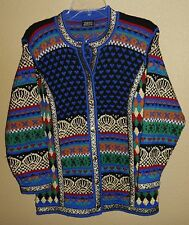 EUC WOMENS XS VRIKKE 100% WOOL NORWEGIAN DESIGN CARDIGAN KNIT SWEATER NORWAY