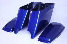 """2014-2107 Superior Blue Harley 4.5"""" Dual Cutouts Extended Stretched Saddlebags"""