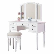 Poundex Furniture F4074 Bobkona St. Croix Vanity Set with Stool