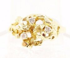 10k Solid Gold Nugget Ring Diamond Accents Natural Design Can Be Sized Free SH