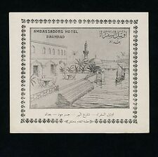 "Ambassadors Hotel BAGHDAD Iraq Irak * Old Luggage Label Kofferaufkleber ""L"""