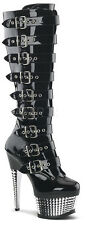 Pleaser Illusion 2048 Gothic Industrial Cyber Buckle Heels Platform Sexy Boots