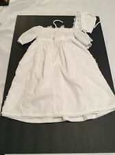Infant baby girl 2 pc white cotton/lace christening dress with matching bonnet