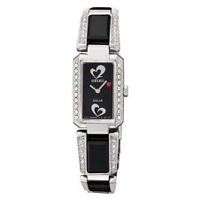 SEIKO SOLAR $325 WOMEN'S DAZZLING CRYSTALS SILVER RED HEART DRESS WATCH  SUP187
