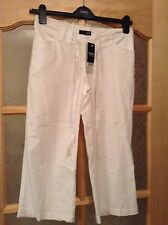 "BNWT "" Next "" Size 6 Maternity White Linen Mix Low Rise Jersey Cropped  Trouser"