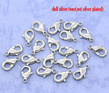 15 SILVER TONE LOBSTER/PARROT CLASPS 12mm x 7mm BRACELETS-NECKLACE-CHARMS (51E)