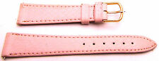 "7.5"" 18mm Pale PINK Genuine Leather Reptile Watch Band with Pins Gold Tone"