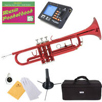 Mendini Bb Trumpet Red Lacquered Student Band +Tuner+Case+CareKit ~MTT-RL