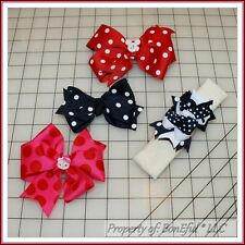 BonEful RTS NEW Girl Boutique Hair*Bow Red White Blue Dot Hello Kitty Disney USA