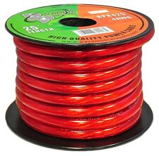 NEW Pyramid RPR425 TRUE 8 Gauge Clear Red Power Wire 25 ft. OFC