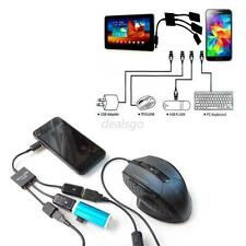 Multi-Function Dual Micro USB 3in1 Male to Female Host OTG Hub Adapter Cable