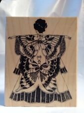 Limited Edition LE3064 Yoko Butterfly Asian Japanese Kimono Rubber Stamp Rare