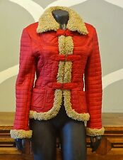 NEW MAN France Red Quilted Shearling Lined Barn Coat - 38