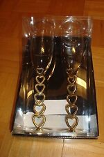 "2 Champagne Silver Plated * HEARTS * 10""in (H) Wedding Toasting Flutes-Glasses"