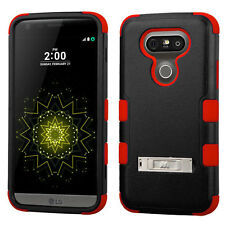 For LG G5 - HARD & SOFT RUBBER HYBRID ARMOR PHONE CASE COVER RED BLACK KICKSTAND