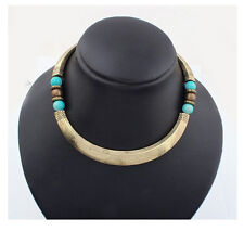 Hot Occident Fashion Retro Metal Blue Beads Hoop Choker Collar Tibet Necklace