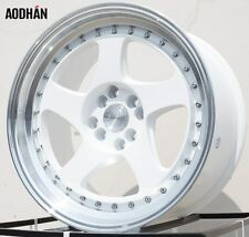"17X9 +25 AODHAN AH01 4X114.3 2.5"" LIP WHITE WHEELS FIT 240SX AGGRESSIVE STANCE"