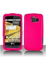Hard Rubberized Case for LG Optimus S LS670 - Hot Pink
