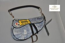 Authentic Christian Dior Denim Miss Diorella Saddle Bag