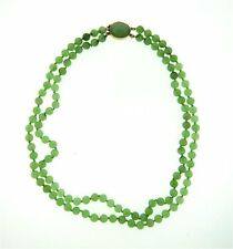 Gump's 14K Solid Gold Dual Strand Jade Jadeite Bead Necklace w/ Larger Clasp