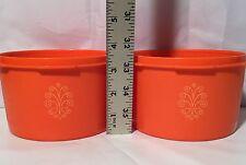 Vintage Tupperware Orange Canister 1298 Lot Of 2 No Lids