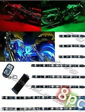 8Pc RGB/Red/Green/Blue/Yellow Glow Lights LED Strips Kit Fits Harley Motorcycle