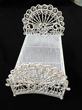 White Enamel Metal Wicker Fan Doll House Miniature bed toy decor