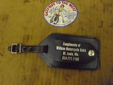 WIDMAN MOTORCYCLE SALES, LEATHER LUGGAGE TAG, GENUINE LEATHER, SNAP CLOSURE.#