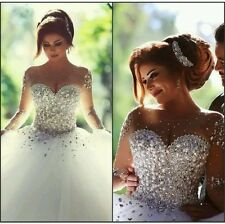 New White Beaded Sweetheart Tulle Wedding Dress Ball Gown Size 6-18 UK