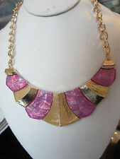 Purple Lucite Opal Look Gold Tone Metal Deco Chunky Necklace Earring Set