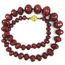 6-18mm faceted ruby red jade rondelle beads necklace 18""