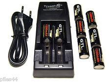 Chargeur Tr-001 + 8 Piles Rechargeables Cr123A 3V 1200mAh GTL Accu Battery Accus