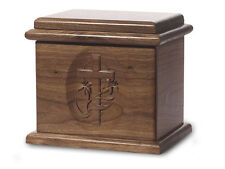Wood Cremation Urn. Deluxe model with a Black Walnut Finish and a Cross image