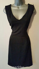 BNWT New NEXT Black Textured V Neck Fit and Flare Empire Skater Stretch Dress 10