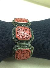 Vintage Chinese Carved Cinnabar Link Bracelet